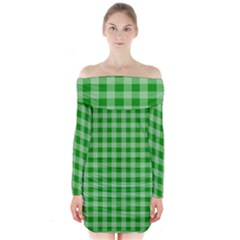 Gingham Background Fabric Texture Long Sleeve Off Shoulder Dress