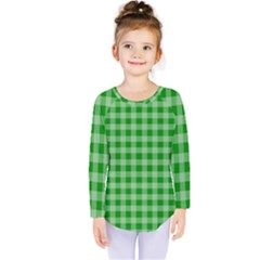 Gingham Background Fabric Texture Kids  Long Sleeve Tee