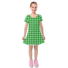Gingham Background Fabric Texture Kids  Short Sleeve Velvet Dress
