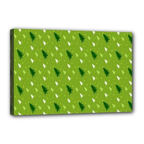 Green Christmas Tree Background Canvas 18  x 12