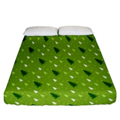 Green Christmas Tree Background Fitted Sheet (california King Size)