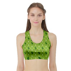 Green Christmas Tree Background Sports Bra with Border