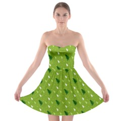 Green Christmas Tree Background Strapless Bra Top Dress