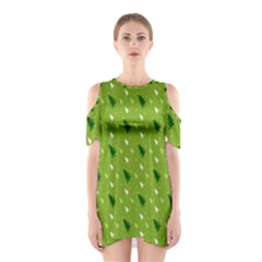 Green Christmas Tree Background Shoulder Cutout One Piece