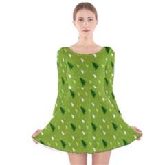 Green Christmas Tree Background Long Sleeve Velvet Skater Dress