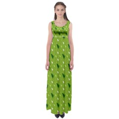 Green Christmas Tree Background Empire Waist Maxi Dress