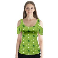 Green Christmas Tree Background Butterfly Sleeve Cutout Tee