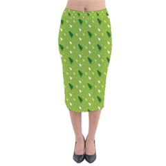 Green Christmas Tree Background Velvet Midi Pencil Skirt