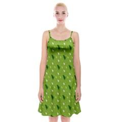 Green Christmas Tree Background Spaghetti Strap Velvet Dress
