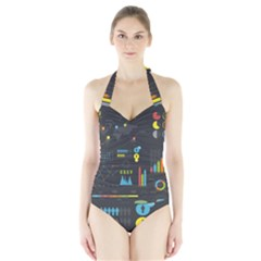 Graphic Table Symbol Vector Chart Halter Swimsuit