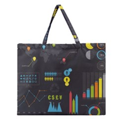 Graphic Table Symbol Vector Chart Zipper Large Tote Bag