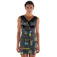 Graphic Table Symbol Vector Chart Wrap Front Bodycon Dress