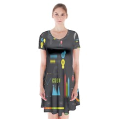 Graphic Table Symbol Vector Chart Short Sleeve V-neck Flare Dress