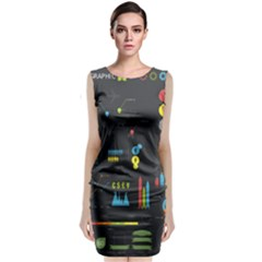 Graphic Table Symbol Vector Chart Sleeveless Velvet Midi Dress
