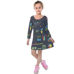 Graphic Table Symbol Vector Chart Kids  Long Sleeve Velvet Dress
