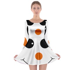 Happy Face With Orange Nose Vector File Long Sleeve Skater Dress