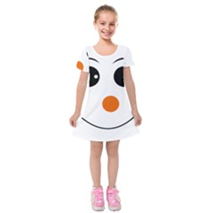 Happy Face With Orange Nose Vector File Kids  Short Sleeve Velvet Dress