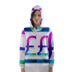 Icon Pound Money Currency Symbols Hooded Wind Breaker (Women)