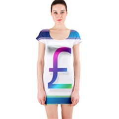 Icon Pound Money Currency Symbols Short Sleeve Bodycon Dress