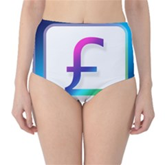 Icon Pound Money Currency Symbols High-Waist Bikini Bottoms