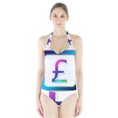 Icon Pound Money Currency Symbols Halter Swimsuit