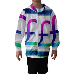 Icon Pound Money Currency Symbols Hooded Wind Breaker (Kids)