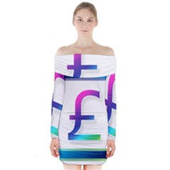 Icon Pound Money Currency Symbols Long Sleeve Off Shoulder Dress