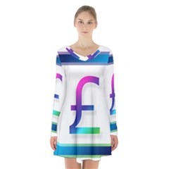 Icon Pound Money Currency Symbols Long Sleeve Velvet V Neck Dress