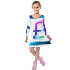 Icon Pound Money Currency Symbols Kids  Long Sleeve Velvet Dress
