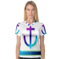 Icon Anchor Containing Fixing Women s V-Neck Sport Mesh Tee