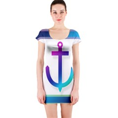 Icon Anchor Containing Fixing Short Sleeve Bodycon Dress