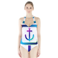 Icon Anchor Containing Fixing Halter Swimsuit