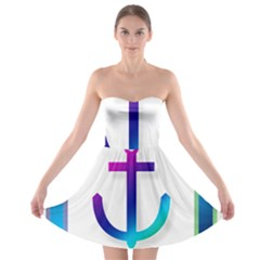 Icon Anchor Containing Fixing Strapless Bra Top Dress