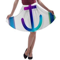 Icon Anchor Containing Fixing A-line Skater Skirt