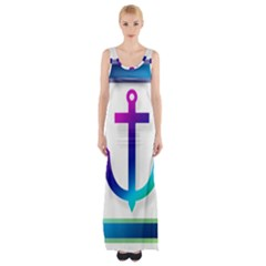 Icon Anchor Containing Fixing Maxi Thigh Split Dress