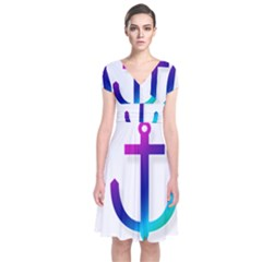 Icon Anchor Containing Fixing Short Sleeve Front Wrap Dress