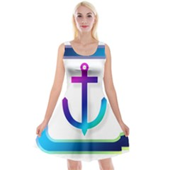 Icon Anchor Containing Fixing Reversible Velvet Sleeveless Dress