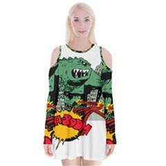 Monster Velvet Long Sleeve Shoulder Cutout Dress