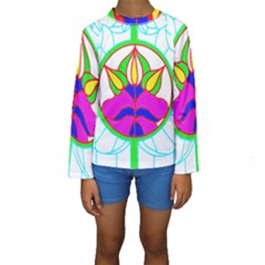Pattern Template Stained Glass Kids  Long Sleeve Swimwear