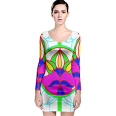 Pattern Template Stained Glass Long Sleeve Bodycon Dress