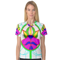 Pattern Template Stained Glass Women s V-Neck Sport Mesh Tee