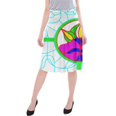 Pattern Template Stained Glass Midi Beach Skirt