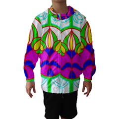 Pattern Template Stained Glass Hooded Wind Breaker (Kids)