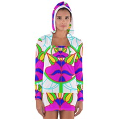 Pattern Template Stained Glass Women s Long Sleeve Hooded T-shirt