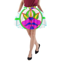 Pattern Template Stained Glass A-Line Pocket Skirt