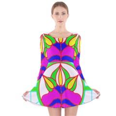 Pattern Template Stained Glass Long Sleeve Velvet Skater Dress