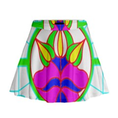 Pattern Template Stained Glass Mini Flare Skirt