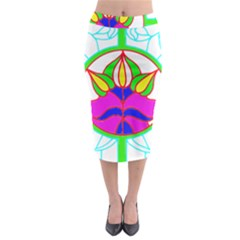 Pattern Template Stained Glass Midi Pencil Skirt