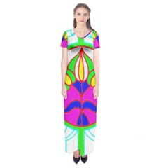 Pattern Template Stained Glass Short Sleeve Maxi Dress