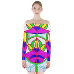 Pattern Template Stained Glass Long Sleeve Off Shoulder Dress